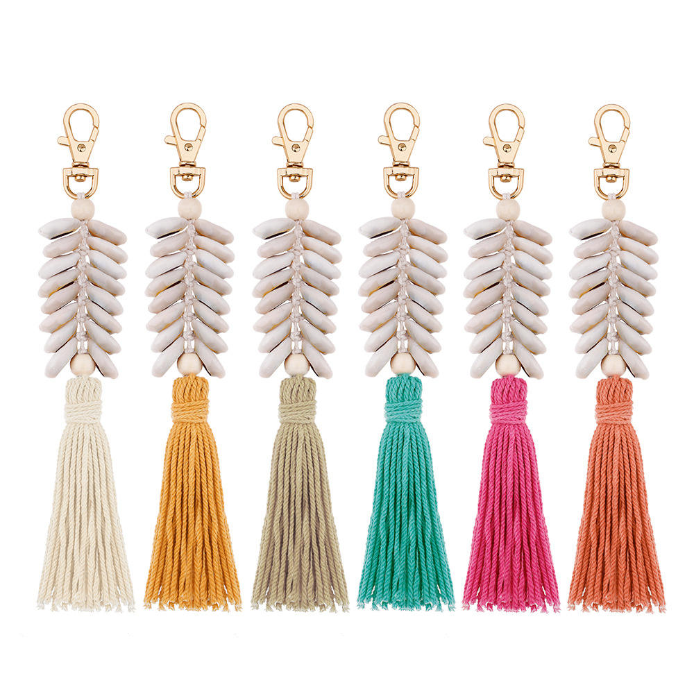 yoyo Shell Tassel Handmade Bohemia Luxury Keychain Bag Backpack Key Accessories for Girls