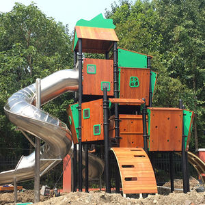 Customized Amusement Equipment Stainless Steel Slide Combines PE Wooden Outdoor Playground