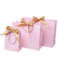 Pink color gift bag  handbags paper shopping gift bags with