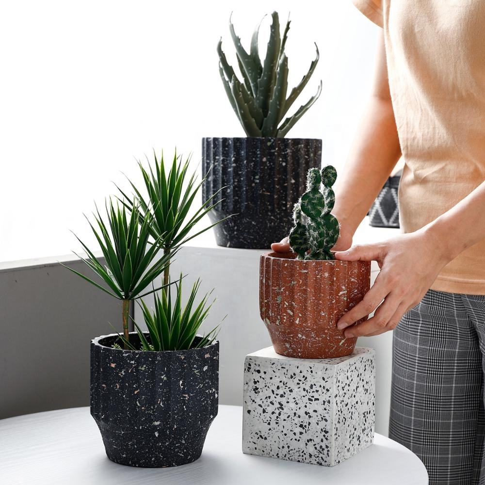 2019Nordic Sandblasting Green Planting Simple Literary and Artistic Green Roll Spraying in Cement Flower Pot