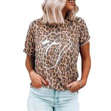 Womens Basic Graphic Tees Casual Summer Short Sleeve Shirt Blouse Tops Girl's Leopard Rolling Stones Distressed Tongue T-Shirt
