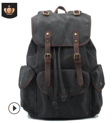 Canvas Vintage Backpack Leather Casual outdoor Men Rucksack