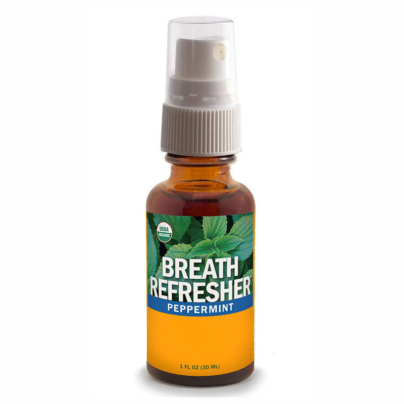 Peppermint Breath Refresher Certified Organic Herbal Fresh Breath Spray non-GMO and sugar-free