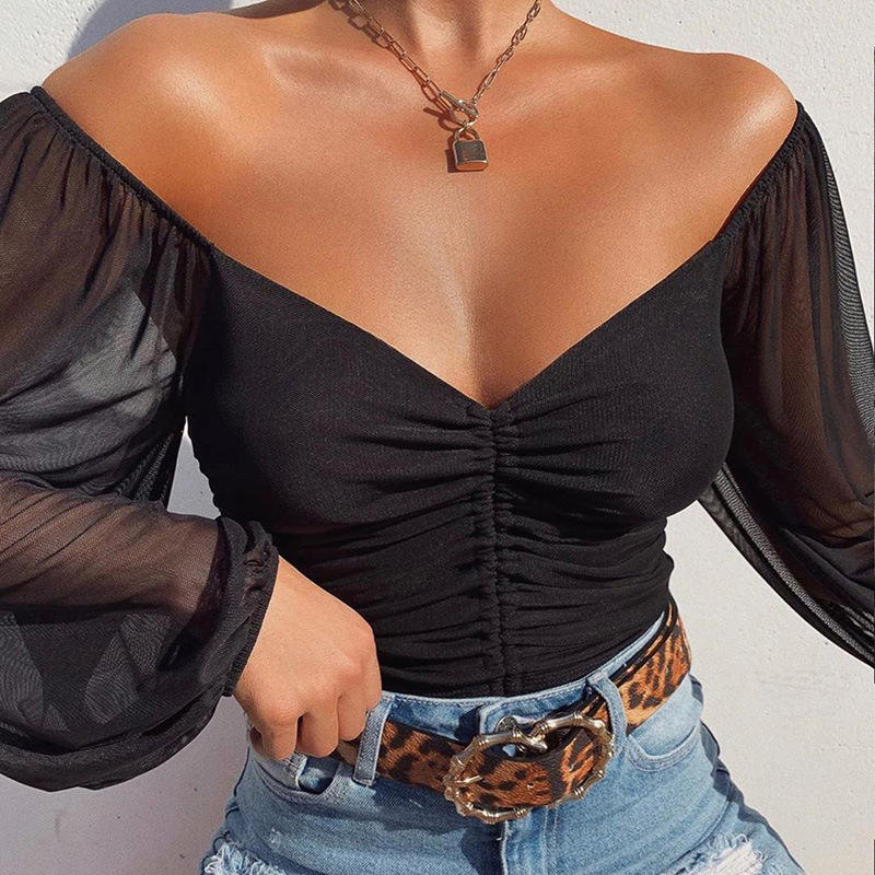 Summer Trendy Sheer sexy v-neck off shoulder long sleeve Crop Tank Top Fashion 2020 ladies' blouses