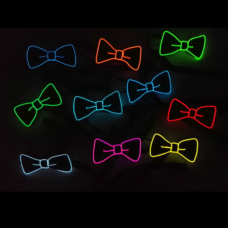 Led electronic flashing bow tie wedding party dance cold light up bow tie without batteries wholesale