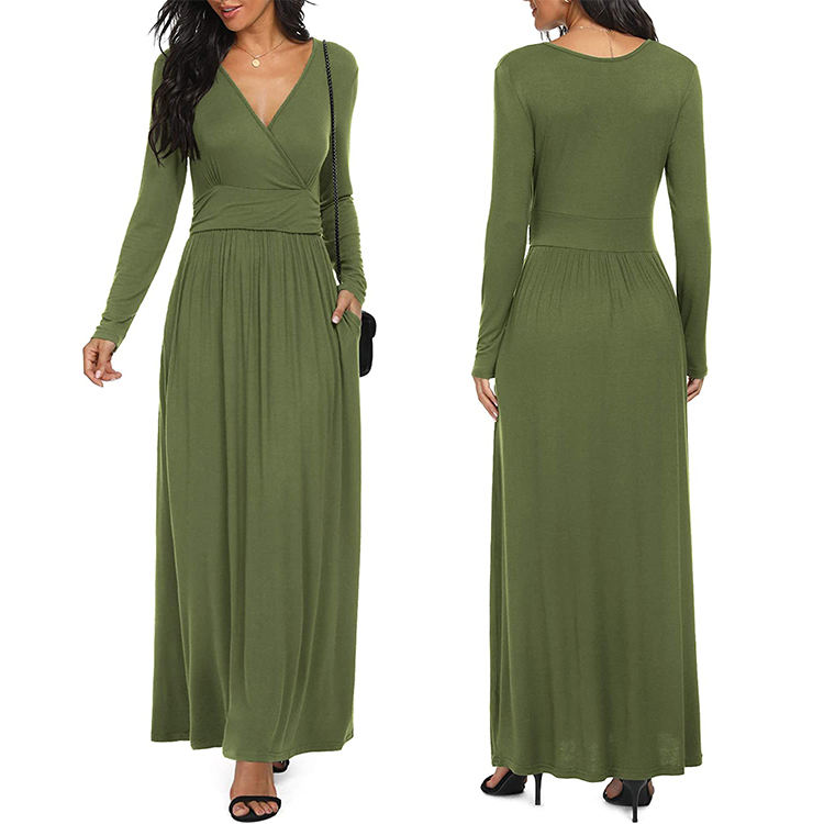 Women Long Sleeve Deep V Neck Loose Plain Long Maxi Casual Dress With Pockets