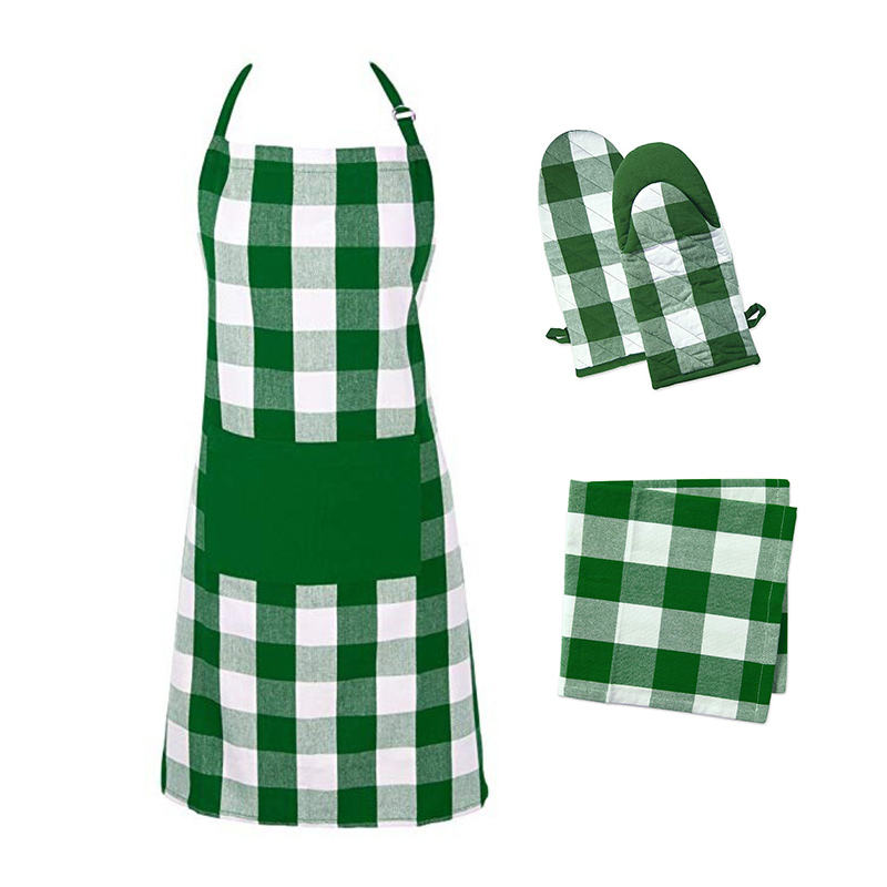 Aprons Kitchen Wholesale Cotton Custom Digital Printing Kitchen Apron Set Oven Gloves Pot Holders