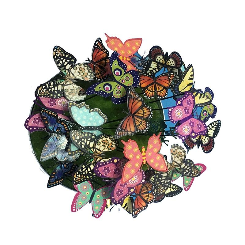 Metal Colorful 3D Butterfly Stakes Yard Patio Flower Miniature Fairy Garden Butterflies Decorations