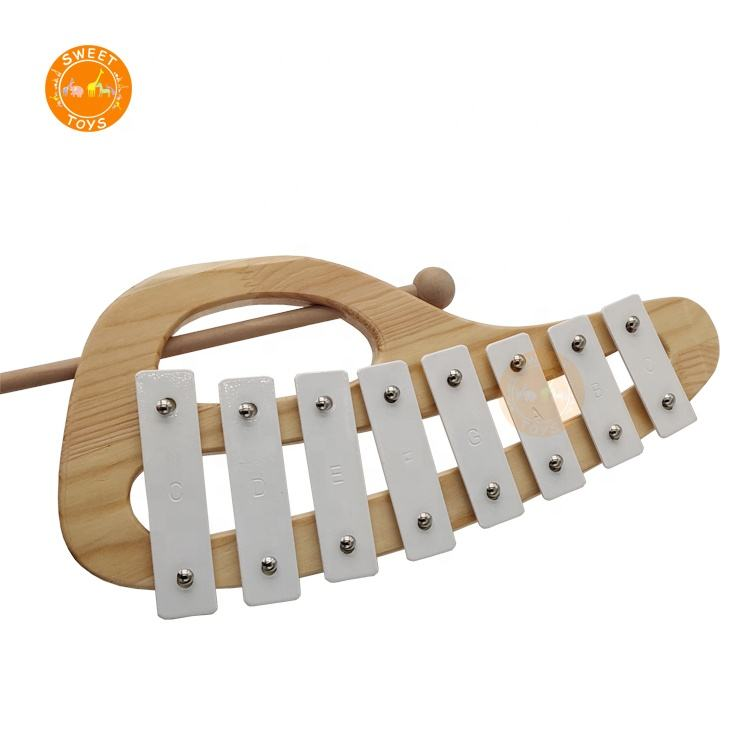 white color 8 tones metallophone musical instrument wood handheld xylophone for Toddler Kid Preschool