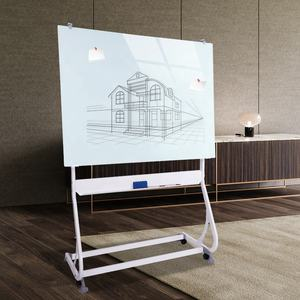 Good quality mobile magnetic toughened glass board Glass Revolving Dry Erase Easel 120x90cm