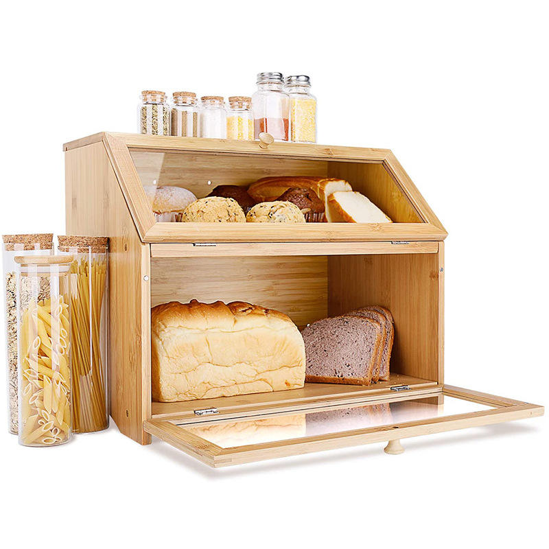 Large Capacity 2 Tiers Storage Container Rice Coffee Bread Bamboo Wooden Storage Box