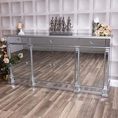 SWT Luxury Unique New Design Large Silver Mirrored Sideboard