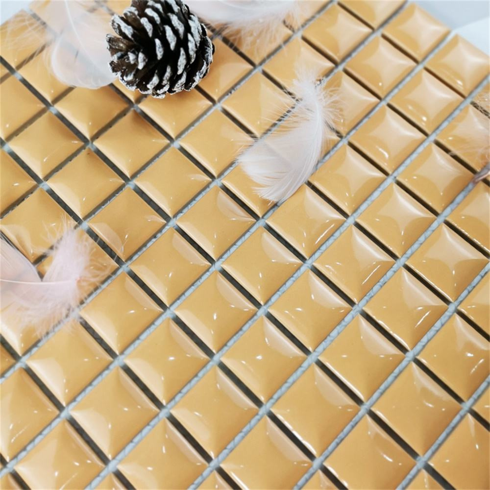 Beige Glossy Convex Surface 3d Glass Mosaic Pool Tile