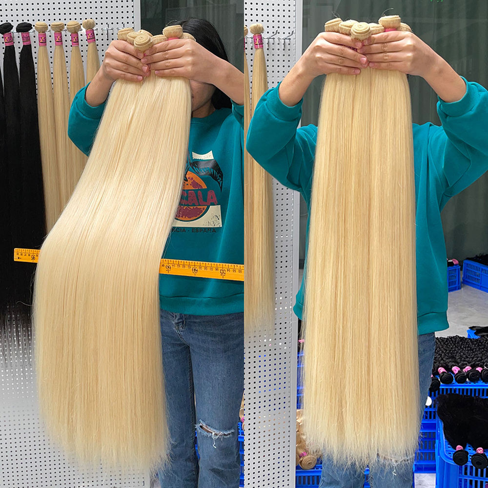 Wholesale 40 Inch 613 Brazilian Human Hair Weave Bundle,Double Weft Natural Human Hair extension,Long 613 blone Hair Extension