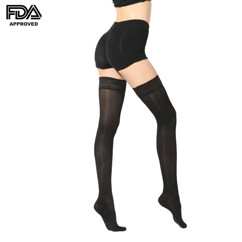 Graduated lace up medical compression stockings anti embolism stockings thigh high with good price 15-20mmHg