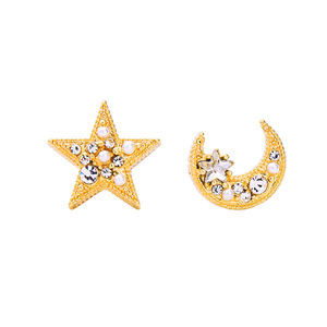 e982219d Gold Plated Wholesale Hot Selling 925 Silver Post Crystal Rhinestone Pearl Crescent Moon and Star Stud Earrings