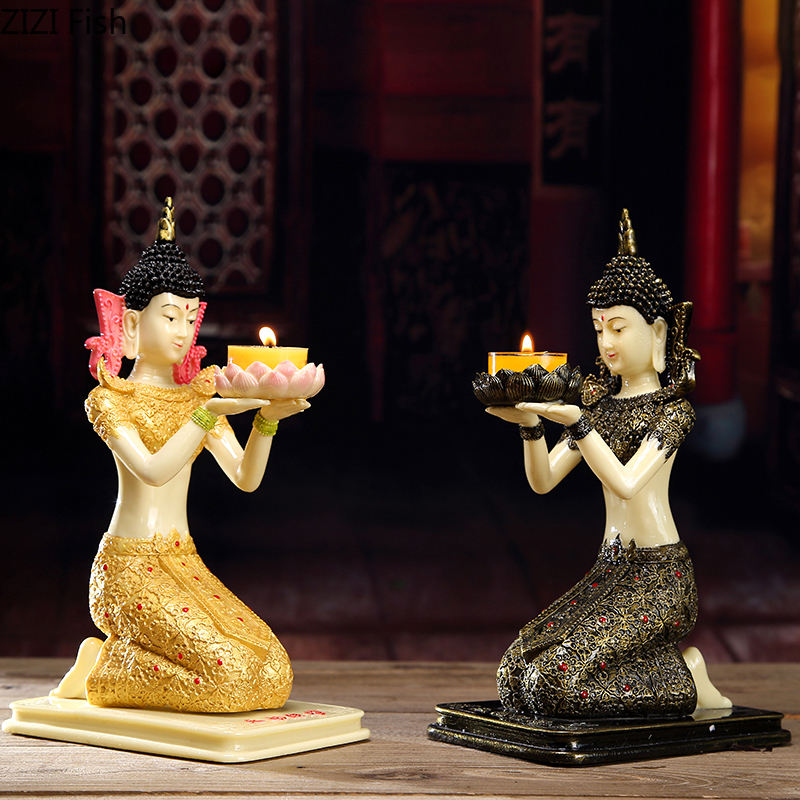 Retro Buddhist Incense Resin Candlestick Buddha Candle Holder Religious Supplies