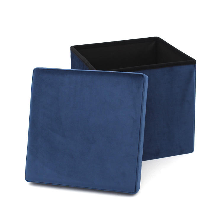 Customized Factory Wholesale Home Furniture Blue Velvet Cube Foldable Storage Ottoman Chair Footrest