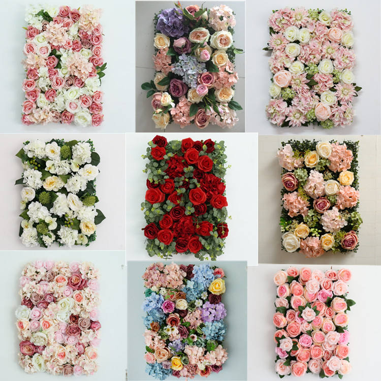 A-372 Custom 3D Pink Red Purple Roll Up Wedding Decorative Artificial Silk Peony Rose Flower Wall Panel Backdrop