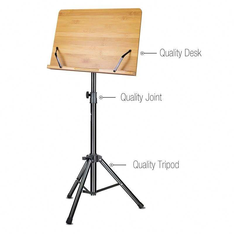 Factory adjustable metal instrument orchestra wooden sheet music stand for music note