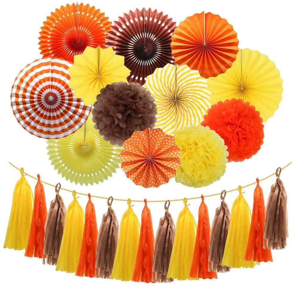 Pafu Festival Thanksgiving Party Supplies Orange Yellow Brown Hanging Paper Fans Pom Poms Flowers Fall Party Decorations Set