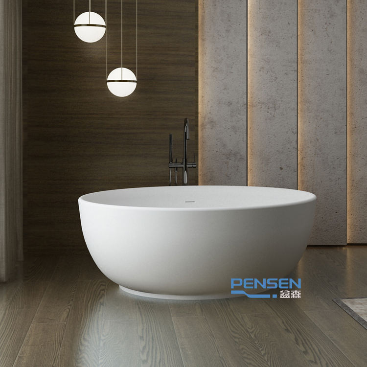 PS-8815 Fast delivery round shape freestanding artificial stone bathtub solid surface bathtub