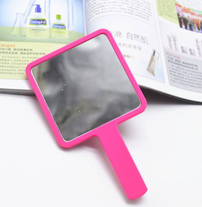 9*15.5cm Stock Color Size Plastic Square Hand Mirror Personalized Custom LOGO UV Printing Cosmetic Makeup Mini Handheld Mirror