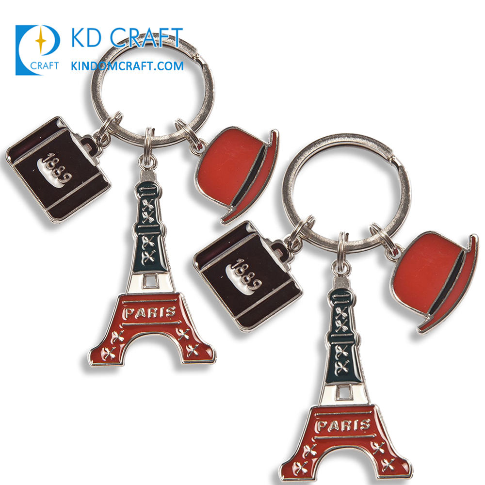 Wholesale custom metal 3D dubai burj khalifa italy petrona leaning twin tower france paris tourism souvenir tower keychain