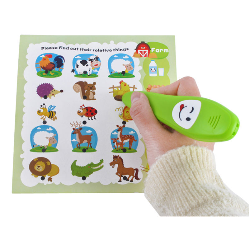 Electric kids smart English sound reading pen with 12 cards