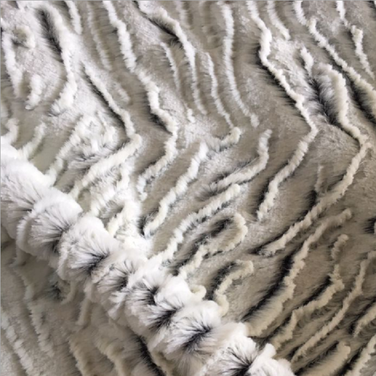 100% polyester knitted three-dimensional zebra brushed back printed high pile fabric