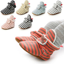 OEM/ODM Factory 2020 New Cotton fabric Striped booties children custom crib baby shoes