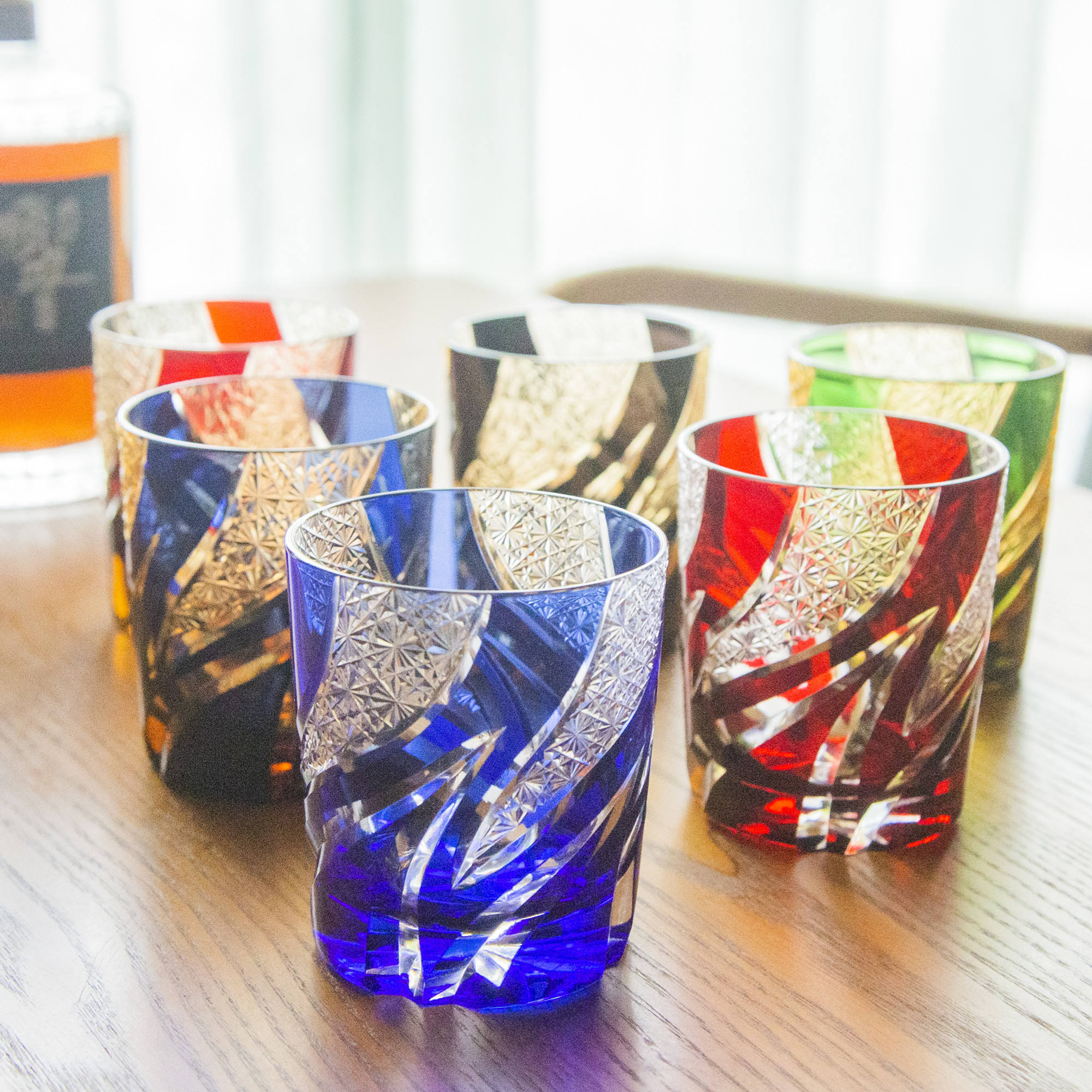 250m Luxury hand cut to amber green blue glass tumbler