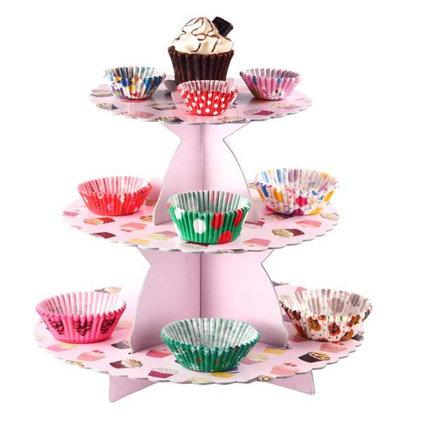 3 Tier Paper Cake Stands Wholesale Cardboard Sandwich Cupcake Stand