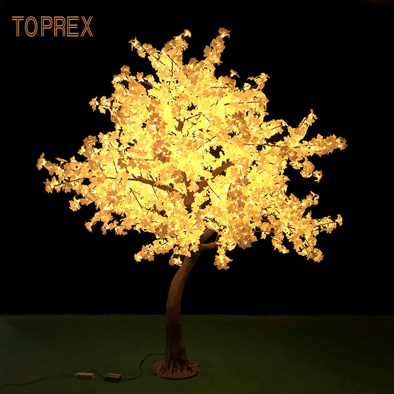 new years 2020 decorations 3m large artificial white LED maple leaves tree light