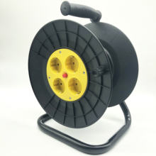 Germany type 4 outlets cable coil  drum power cord reel  extension cord reel cable drum
