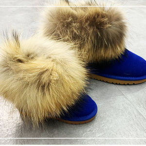Wholesale custom color fluffy raccoon fur women kids genuine leather sheepskin winter snow boots