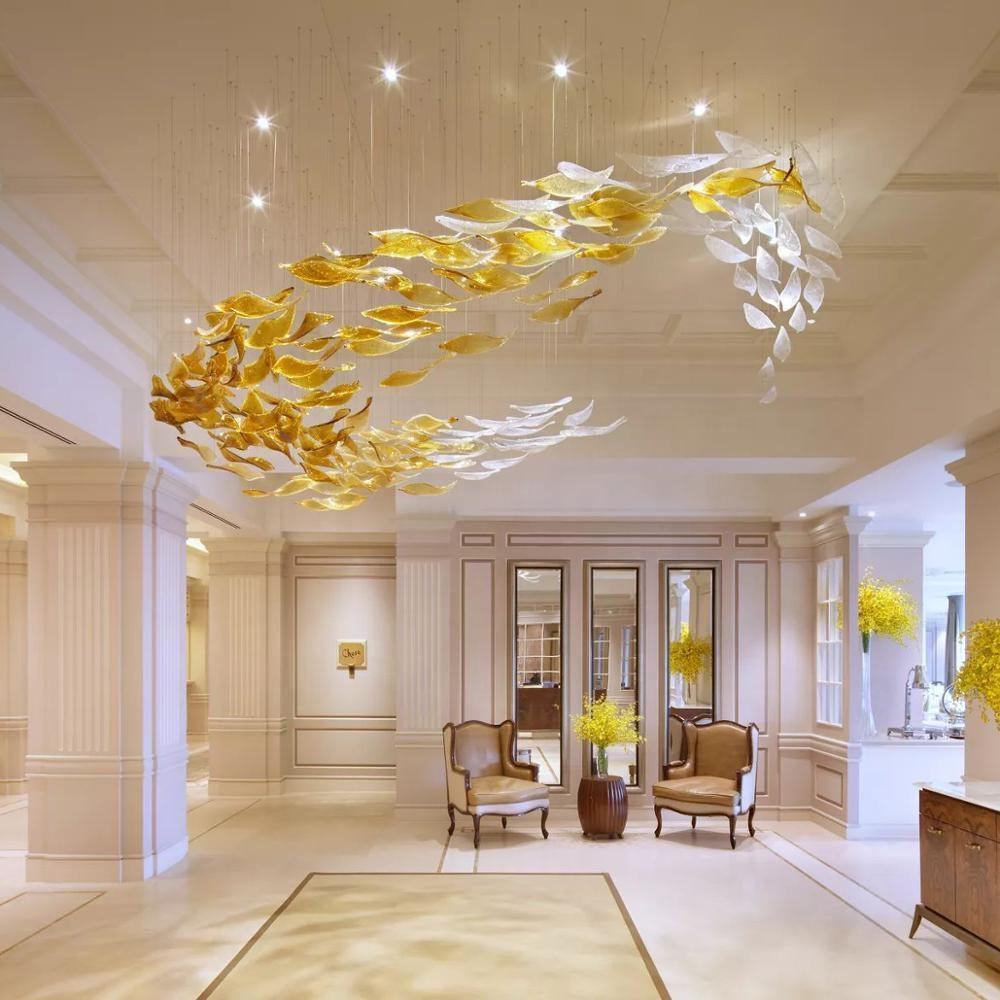 Contemporary modern luxury large indoor ceiling hanging maple leaf LED glass chandeliers and lamps