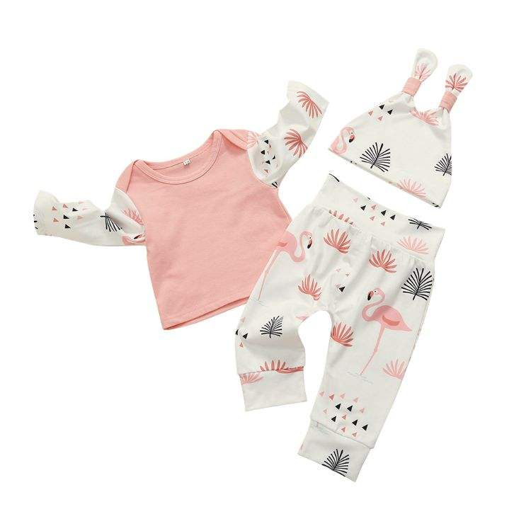 Wholesale autumn cotton infant clothing long sleeve top and pants suit 3pieces fall sets for baby girls cloths set kids