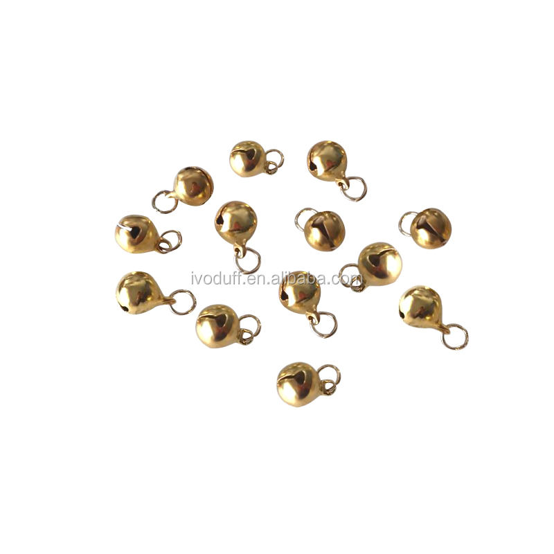Ivoduff Supply DIY Mini Brass Jingle Bell 10mm With Ring, Metal Bell With Keyring Jewelry Findings Accessories