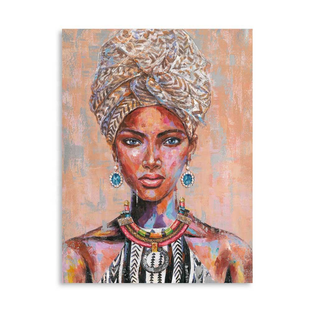Artree Custom Global 90*120 Wall Art Home Living Room Portrait Decor African Women Frame Acrylic Canvas Stretched Oil Paintings