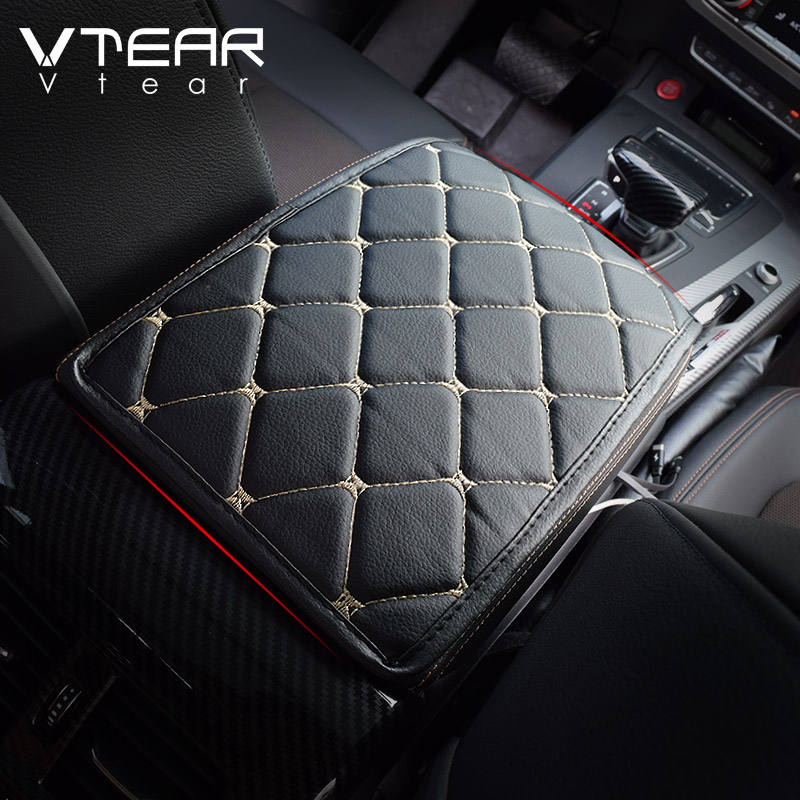 Vtear universal car armrest cushion cover center console auto seat case central PU leather pad protection interior accessories