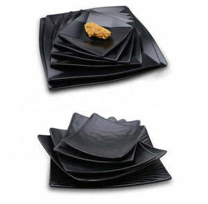 Matte black rectangle and round melamine plate dish