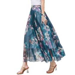 Long Pattern Flower Print Chiffon Beach Maxi Skirt