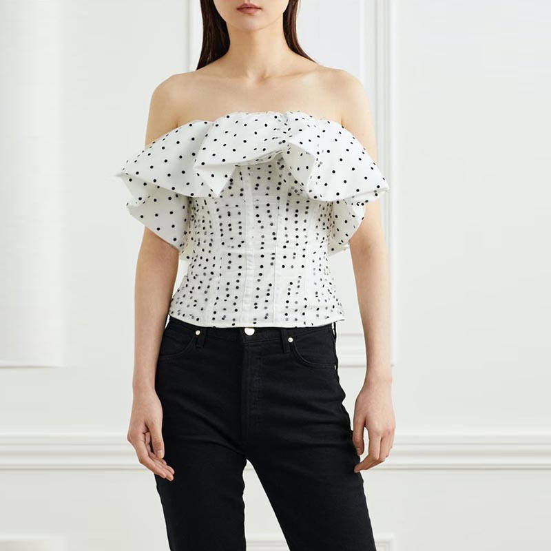 A4613 Modieuze Witte Strapless Mouwloze Dot Ruche Vrouwen <span class=keywords><strong>Tops</strong></span> Blouse Dames