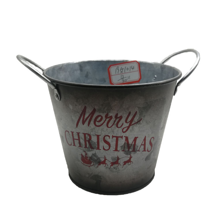 Manufacturers old style customize metal pail with two handles for Christmas