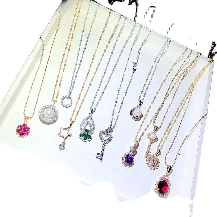 PUSHI south korea beautiful fashion jewelry delicate mixed necklace lot zircon necklace pendant necklace