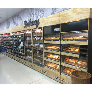 Supermarkt brood cake vitrinekast bakkerij showcase planken