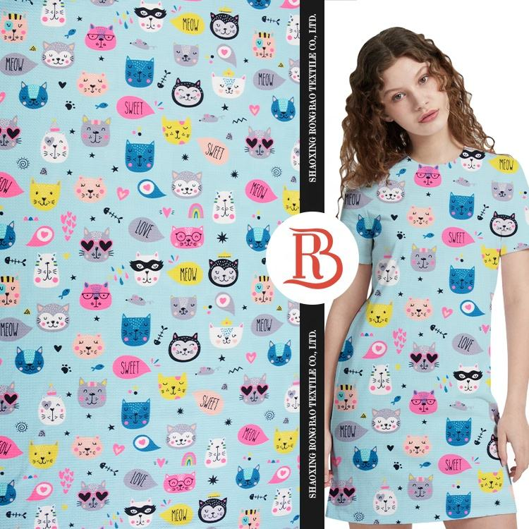 Quick delivery 200GSM knitting poly crepe bubble animal pattern cartoon printed kids fabric for dress cloth