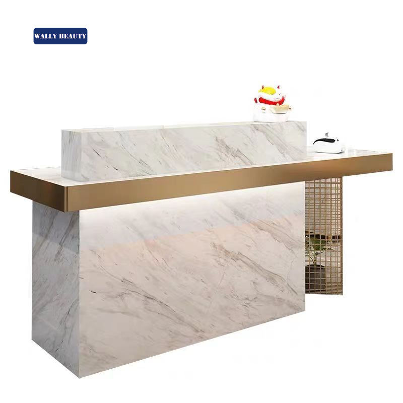 Wallybeauty beauty spa gold front desk salon white reception desk