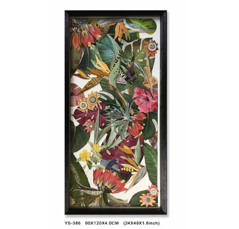 Environmentally friendly high-end Tropical Leaf glass Collage Art decorative painting with Black PS Frame